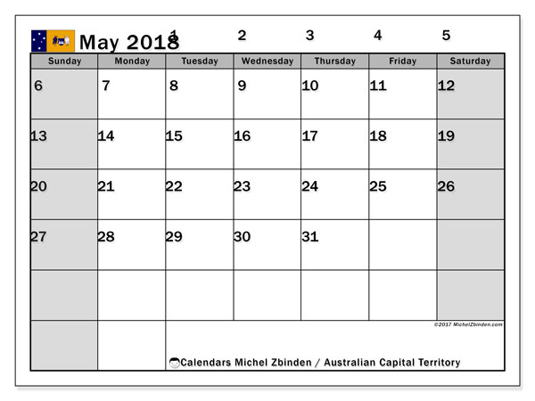 Calendar May 2018, with the holidays of Australian Capital Territory. Monthly calendar to print free.