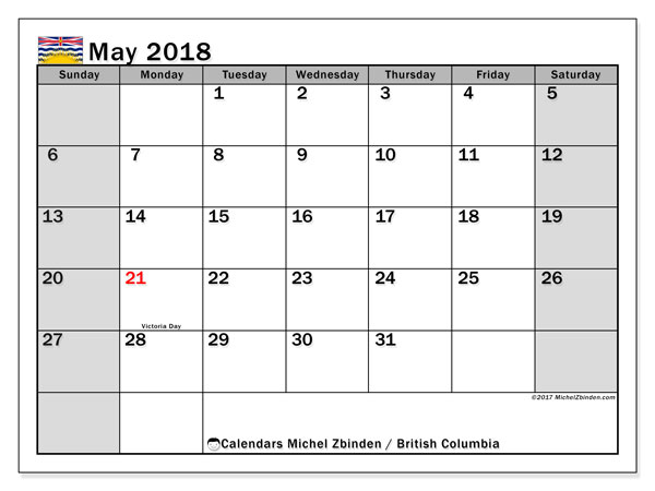 Calendar May 2018, with the holidays of British Columbia. Free printable monthly calendar.