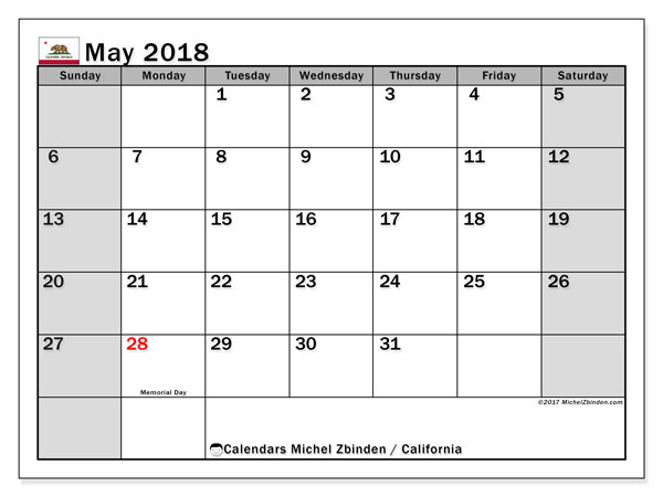 Calendar May 2018, with the holidays of California. Free printable calendar.