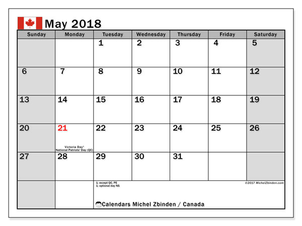 Calendar May 2018, with the holidays of Canada. Free printable bullet journal.