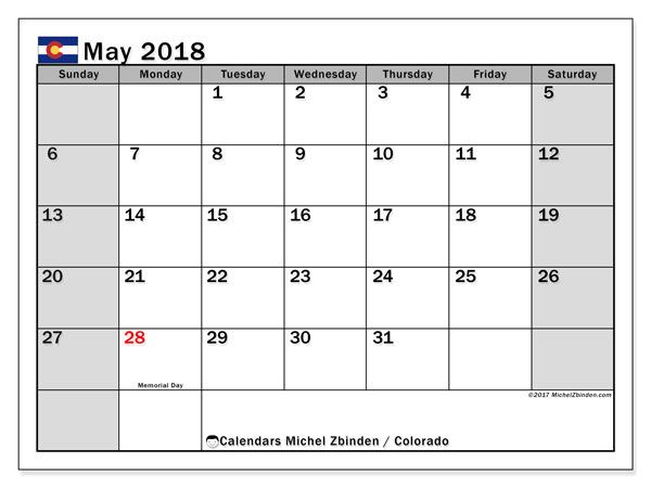 Calendar May 2018, with the holidays of Colorado. Monthly planner to print free.