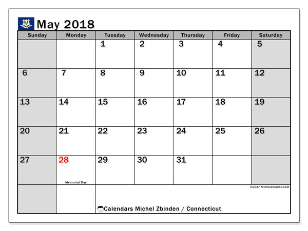 Calendar May 2018, with the holidays of Connecticut. Calendar to print free.