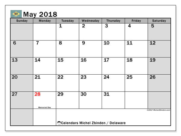Calendar May 2018, with the holidays of Delaware. Calendar for the month to print free.