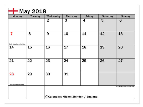 Calendar May 2018, with the holidays of England. Monthly calendar to print free.