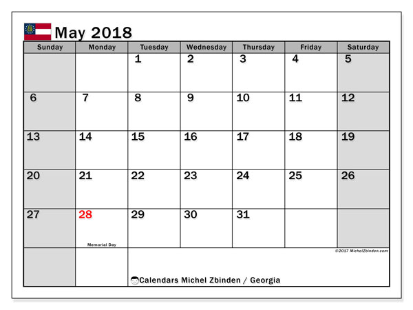 Calendar May 2018, with the holidays of Georgia. Free planner to print.