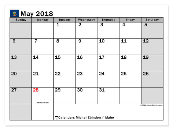 Calendar May 2018, with the holidays of Idaho. Monthly calendar to print free.
