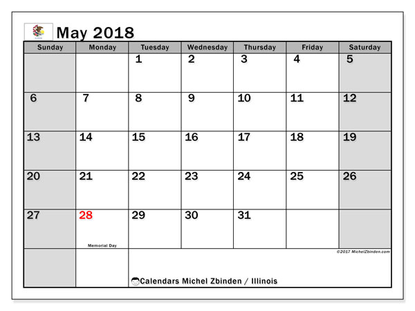 Calendar May 2018, with the holidays of Illinois. Free calendar to print.