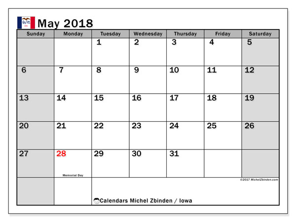 Calendar May 2018, with the holidays of Iowa. Bullet journal to print free.