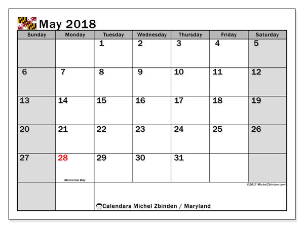 Calendar May 2018, with the holidays of Maryland. Free printable bullet journal.