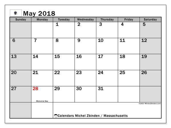 Calendar May 2018, with the holidays of Massachusetts. Planner to print free.