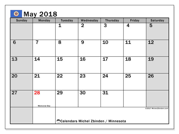 Calendar May 2018, with the holidays of Minnesota. Free printable monthly planner.