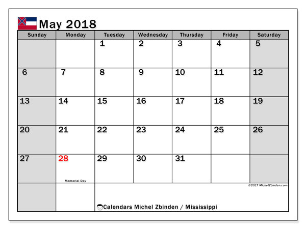 Calendar May 2018, with the holidays of Mississippi. Free printable calendar.