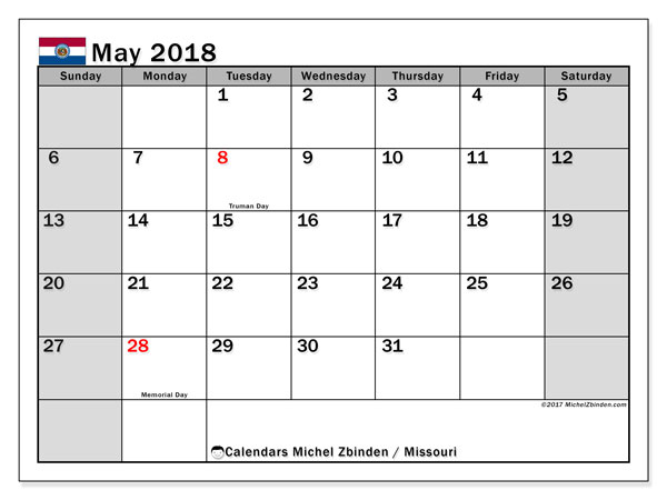 Calendar May 2018, with the holidays of Missouri. Free printable monthly calendar.