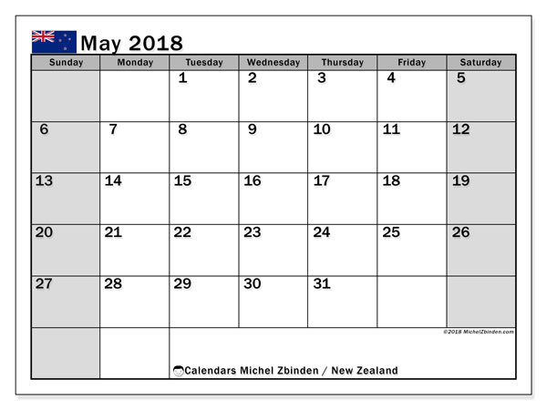 Calendar May 2018, with the holidays of New Zealand. Free calendar to print.