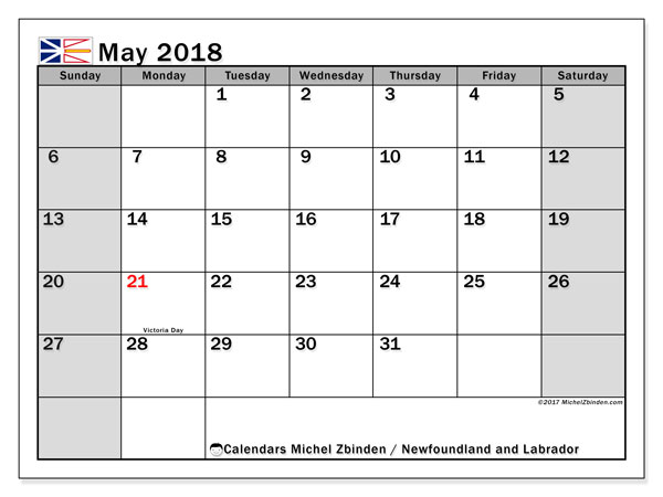 Calendar May 2018, with the holidays of Newfoundland and Labrador. Free printable monthly planner.