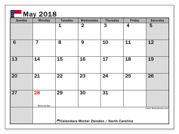 Calendar May 2018, with the holidays of North Carolina. Free printable bullet journal.