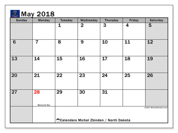 Calendar May 2018, with the holidays of North Dakota. Bullet journal to print free.