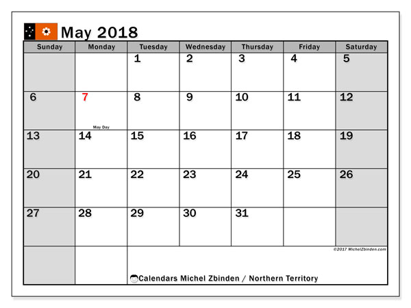Free printable calendar May 2018, with the holidays of Northern Territory. Monthly calendar.