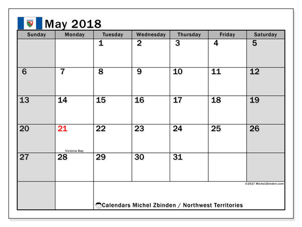 Calendar May 2018, with the holidays of Northwest Territories. Planner to print free.