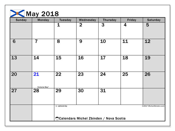 Calendar May 2018, with the holidays of Nova Scotia. Calendar for the month to print free.