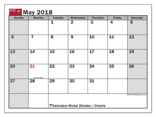 Calendar May 2018, with the holidays of Ontario. Calendar to print free.