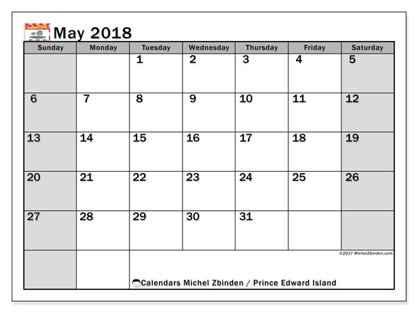 Calendar May 2018, with the holidays of Prince Edward Island. Planner to print free.