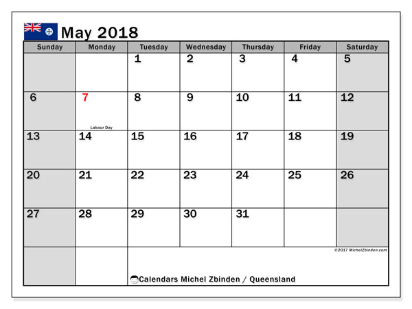 Calendar May 2018, with the holidays of Queensland. Monthly calendar to print free.