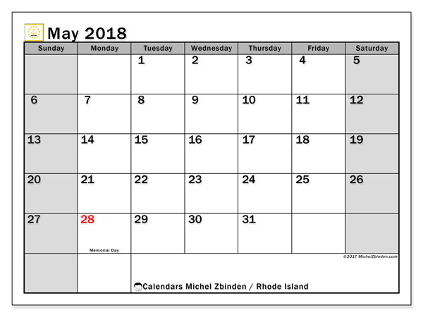 Calendar May 2018, with the holidays of Rhode Island. Calendar to print free.