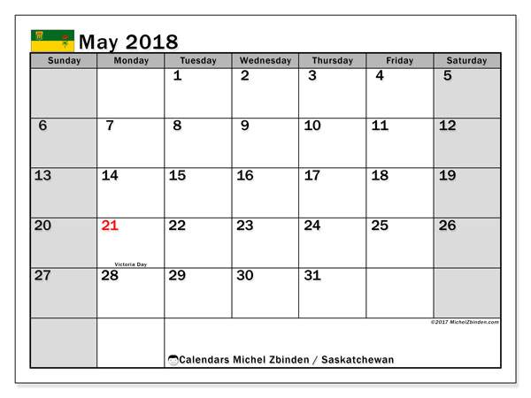 Calendar May 2018, with the holidays of Saskatchewan. Free bullet journal to print.