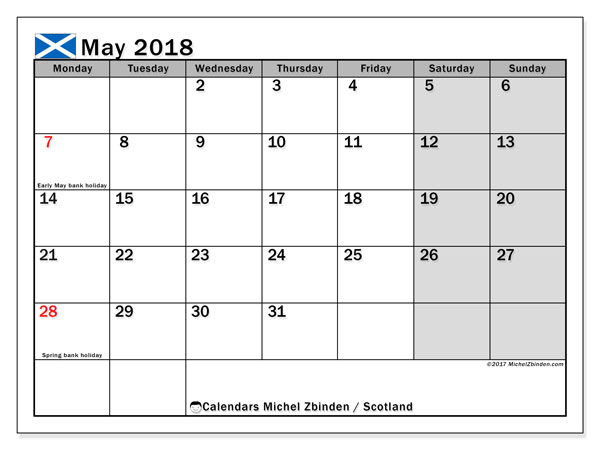 Calendar May 2018, with the holidays of Scotland. Free printable monthly calendar.