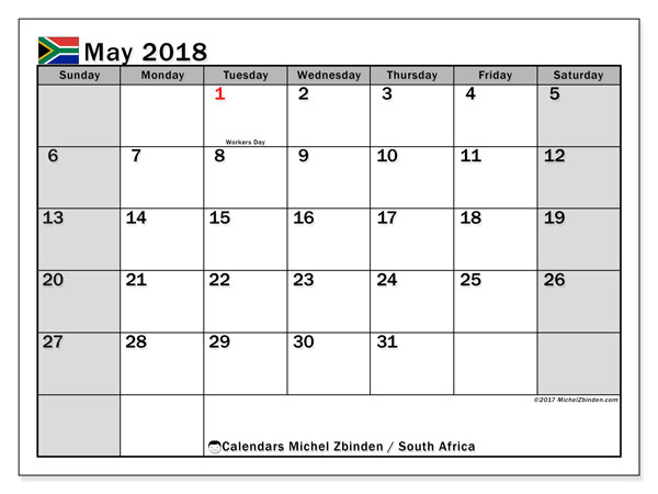 Calendar May 2018, with the holidays of South Africa. Calendar for the month to print free.