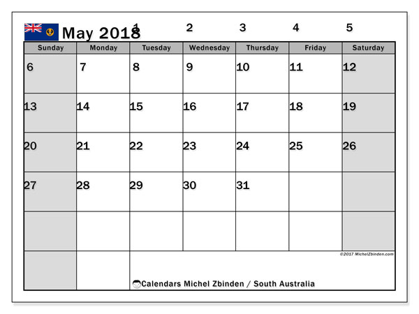 Calendar May 2018, with the holidays of South Australia. Monthly calendar to print free.