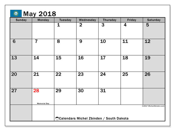 Calendar May 2018, with the holidays of South Dakota. Free printable calendar.
