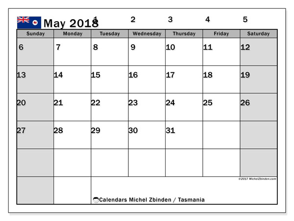 Calendar May 2018, with the holidays of Tasmania. Monthly planner to print free.