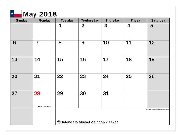 Calendar May 2018, with the holidays of Texas. Calendar to print free.