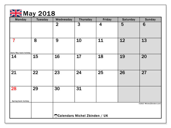 Calendar May 2018, with the holidays of the UK. Bullet journal to print free.