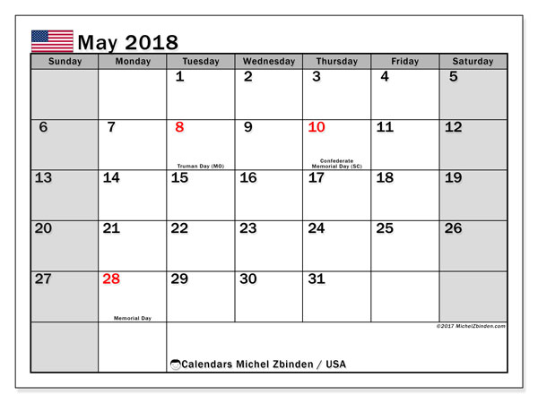 Calendar May 2018, with the holidays of the USA. Monthly planner to print free.