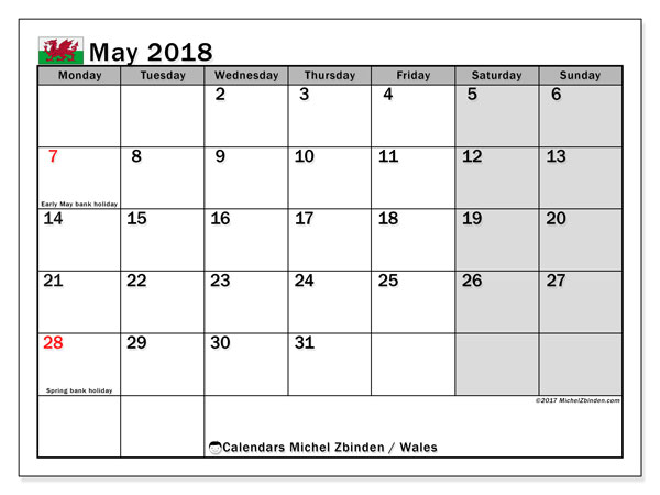 Calendar May 2018, with the holidays of Wales. Free printable monthly calendar.