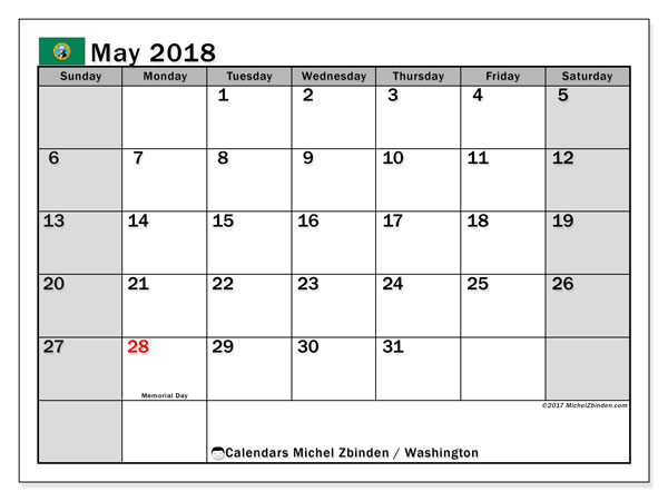 Calendar May 2018, with the holidays of Washington. Free printable monthly planner.
