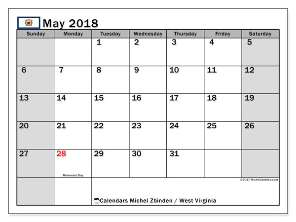 Calendar May 2018, with the holidays of West Virginia. Free printable monthly planner.