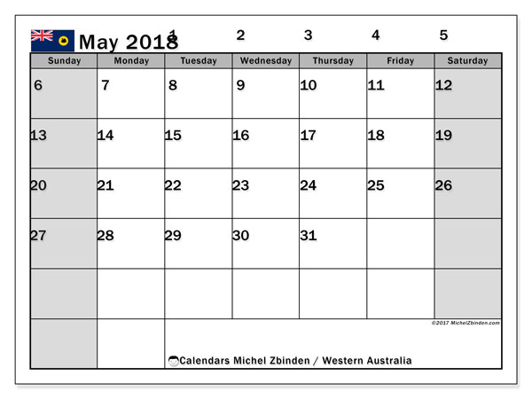 Calendar May 2018, with the holidays of Western Australia. Free printable planner.