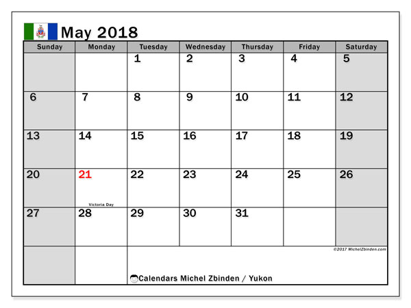Calendar May 2018, with the holidays of Yukon. Free calendar to print.
