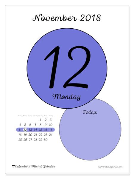 Calendar November 2018 (45-12SS). Free printable daily calendar.