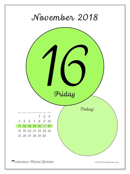 Calendar November 2018 (45-16SS). Calendar for the day to print free.