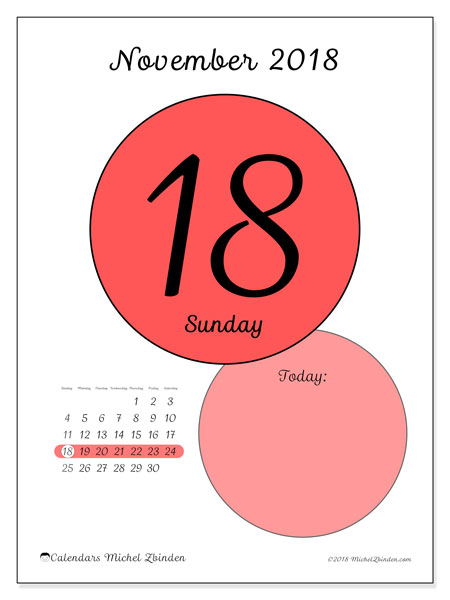 Calendar November 2018 (45-18SS). Free printable daily calendar.