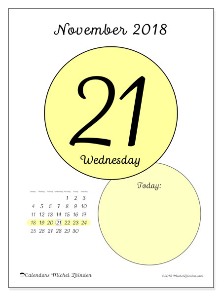 Calendar November 2018 (45-21SS). Daily calendar to print free.