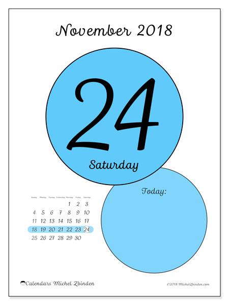 Calendar November 2018 (45-24SS). Free printable daily calendar.