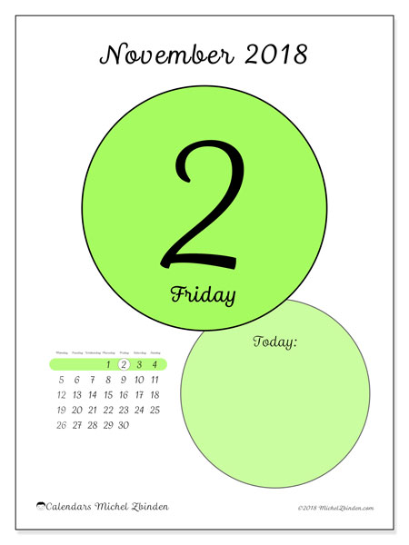 Calendar November 2018 (45-2MS). Free printable daily calendar.