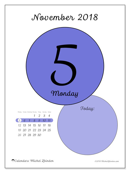 Calendar November 2018 (45-5MS). Free printable daily calendar.