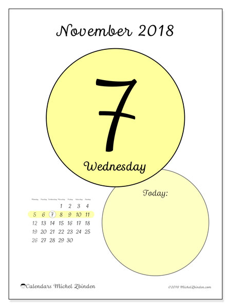 Calendar November 2018 (45-7MS). Free printable daily calendar.